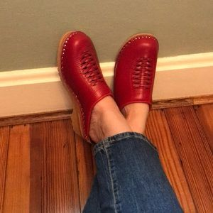 Swedish Troentorp leather clogs 39 8 8.5 hasbeens